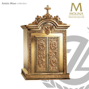 Renaissance tabernacle stands 34 inches high with inner glass door and images  in choice of 2 finishes made in spain by Molina AS4123