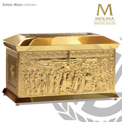 Descent from the cross chest style tabernacle stands 14 and 3 eighths inches high with choice of silver or gold plate finish made in spain by Molina AS4145