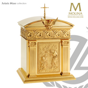 Baptism of Christ tabernacle stands 18 and 1 half inches high with bas relief image on front and choice of 3 finishes made in spain by Molina AS4220