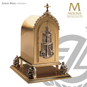 Dear at fountain tabernacle with interior ostensorium in choice of 2 sizes and 4 finishes made in spain by Molina AS4117