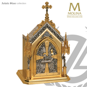 Agnus Dei tabernacle stands 31 and 1 half inches high with 7 seals and choice of three finishes made in spain by Molina AS4087
