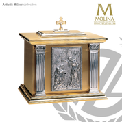 Baptism of Christ tabernacle stands 20 inches high with bas relief and choice of 3 finishes made in spain by Molina AS4126