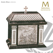 Annunciation tabernacle stands 16 and 1 half inches high with green marble  and choice of 2 finishes made in spain by Molina AS4094