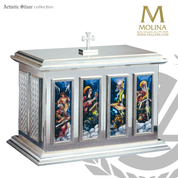 Evangelists tabernacle stands 20 inches high with Fire Enameled images and silver or gold finish made in spain by Molina AS4116