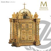 Life of Christ tabernacle stands 33 and 1 half inches high with evangelists and cloisonné  and silver or gold finish finish made in spain by Molina AS4112