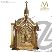 Christ and apostles tabernacle stands 37 inches high with gothic style ornamentation  and choice of 3 finishes made in spain by Molina AS4025