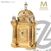 4 Evangelists tabernacle stands 50 inches high with Agnus Dei and saint Michael  and choice of silver or gold finish made in spain by Molina AS4129