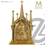 Agnus Dei tabernacle stands 31 inches high with gothic style design and choice of 3 finishes made in spain by molina as4026
