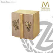 Grape and wheat tabernacle stands 15 and 1 half inches high with marble doors and brass finish made in spain by molina as929t
