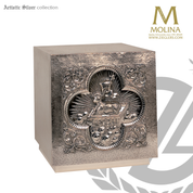 Agnus Dei tabernacle made of resin stands 15 inches high with brass or silver finish made in spain by molina as5572