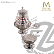 Botafumeiro reproduction incense set includes thurible boat and spoon with brass or silver plate finish made in spain by molina as680