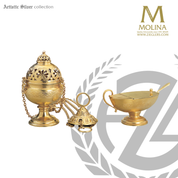 Scallop and flowers motif incense set includes thurible boat and spoon with brass or silver finish  made in spain by molina as5558