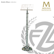 lectern with textured ornamentation hieght ranges from 49 inches to 55 inches with brass or silver plate finish made in spain by molina As8001