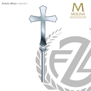 processional cross with flared ends stands 72 inches high overall with choice of 3 finishes made in spain by molina as5597