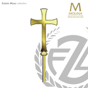 processional cross with flared ends stands 72 inches high overall with choice of 3 finishes made in spain by molina as5598