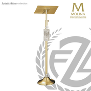Brass finish Cross and Wheat lectern with accent plaque height is 55 inches made in spain by molina AS5519