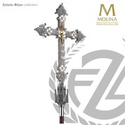 Gothic processional Crucifix with handworked filigree stands 92 inches high overall with silver plate finish made in spain by molina as915