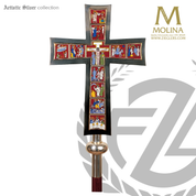 Life of Christ processional Crucifix with cloisonne scenes stands 80 inches high with gold or silver plate finish made in spain by molina AS916