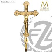 Passion of Christ processional Crucifix with engrved symbols and scenes stands and choice of brass or silver plate finish made in spain by molina as903