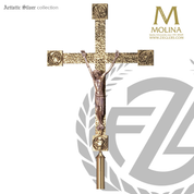 Evangelists processional Crucifix with textured cross and choice of brass or silver finish made in spain by molina as813