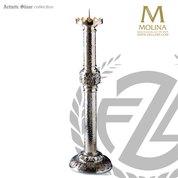 Four Evangelists paschal candlestick with hand hammered finish stands 43 and 1 half inches high vrass or silver plate finish made in spain by molina as923