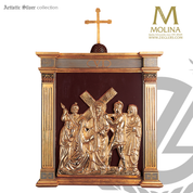 Romanesque stations of the cross set of 14 metal scenes with wood frames measure 46 x 26 inches with choice of finish on metal made in spain as513