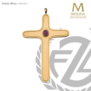 pectoral cross with amethyst accent measures 4 and 3 eighths inches by 3 inches made in spain by molina as7585
