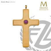 """Pectoral Cross 4"""" x 2-11/16"""" Gold Plated 7580 Spain"""