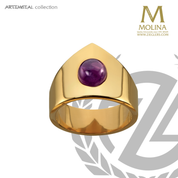 Name bishop ring with synthetic amethyst accent please indicate ring size in order made in spain by molina AS771