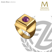 Square bishop ring with synthetic amethyst please indicate ring size in order made in spain by molina AS773