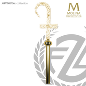 Hand engraved bishops crozier with flower of passion motif select from two finishes and 2 or 3 sections made in spain by molina AS5594