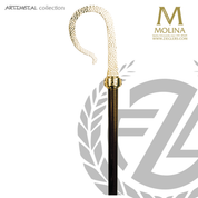 bishops crozier with hand hammered crook select from two finishes and 2 or 3 sections made in spain by molina AS5592