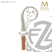 Peace bishops crozier with olive branch select from two finishes and 2 or 3 sections made in spain by molina AS408