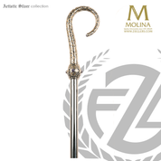 Peace bishops crozier with filigree and cabochons select from two finishes and 2 or 3 sections made in spain by molina AS407