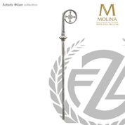 bishops crozier with flared cross and textured finish select from two finishes and 2 or 3 sections made in spain by molina AS406