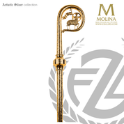 Agnus dei bishops crozier with lamb of god choose from two finishes and 2 or 3 sections made in spain by molina AS412
