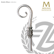 Gothic bishops crozier with textured crook select from two finishes and 2 or 3 sections made in spain by molina AS403
