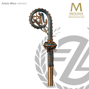 bishops crozier with fire enameled ornamentation with antique gold finish made in spain by molina AS405