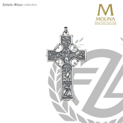 pectoral cross celtic style with images measures 3 and 1 half by 2 inches made in spain by molina as786