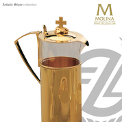 Glass and metal flagon stands 9 and 1 quarter inches tall with grape motif finial and 24 karat gold plate finish made in spain by molina as292704