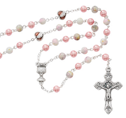 Holy Communion Rosary faux pearl beads  with metal and enamel centerpiece and crucifix one accent rose MAR625W