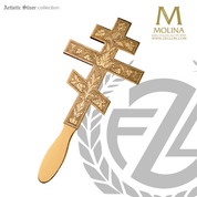 eastern rite cross style lance for communion measures 11 and 1 half inches long with gold plate finish made in spain by molina AS107CGP