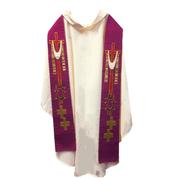 Overlay Stole | Purple | Embroidered Crosses| Staldemier