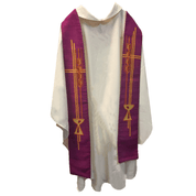 Overlay Stole | Purple | Embroidered Chalice & Wheat| Staldemier