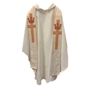 Overlay Stole   Beige   Embroidered Cross with Crown  Staldemier