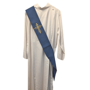 Deacon Stole | Blue | Embroidered Gold Cross