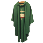 Chasuble | Green | Cross & Book Symbols | Gothic Cut