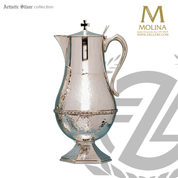 flagon stands 11 inches tall with embellished band accent and silver plate finish made in spain by molina as1825