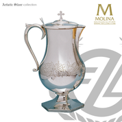 Grapes  and wheat flagon stands 11 inches tall with hand engraving and silver plate finish made in spain by molina as1839