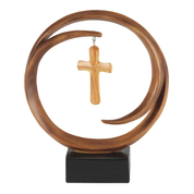 "Encircled Standing Cross made from resin in Wood Toned Finish height 8-1/2"" DITTCR313"